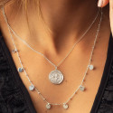 925 Silver7 mini medals & beaded chain necklace