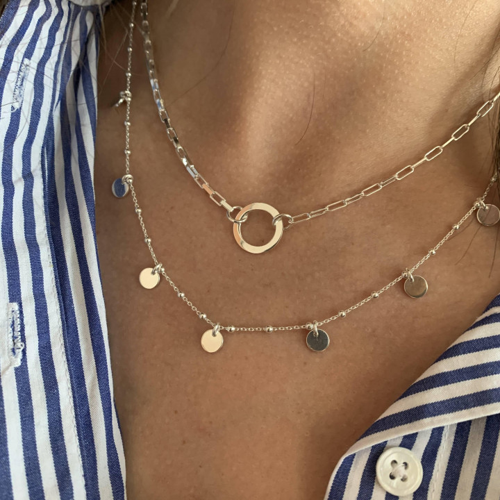 925 Silver Large chain necklace with ring