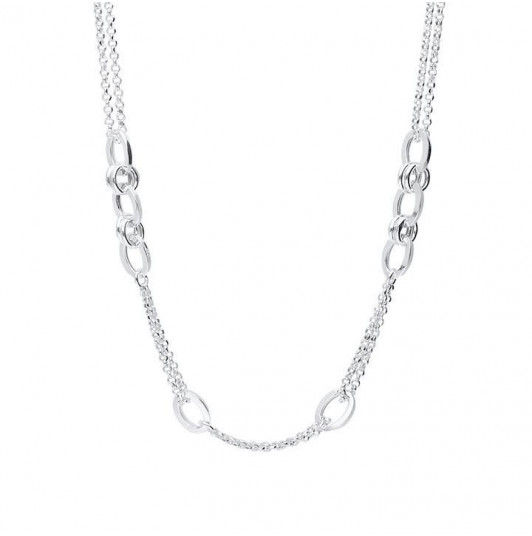 Double chain necklace with large interlaced links