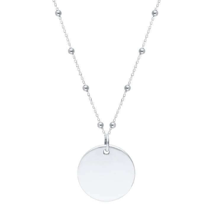 925 Silver beaded chain necklace with large flat medal