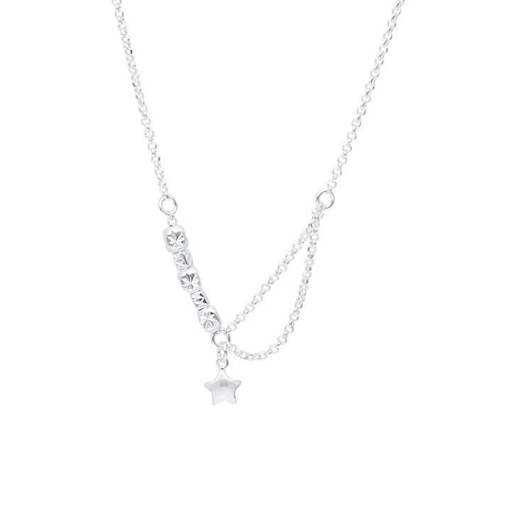 925 silver fancy beads & star chain necklace