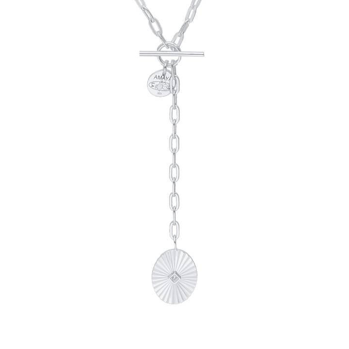 925 Silver chain necklace with large links & striated medal
