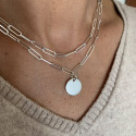 925 Silver chain necklace with large thick links & medal