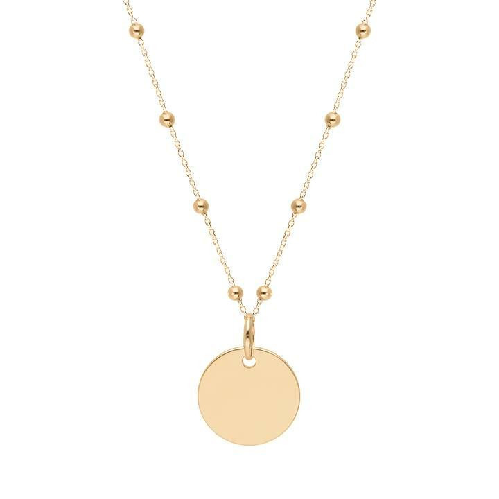 Gold-plated beaded chain necklace with medal