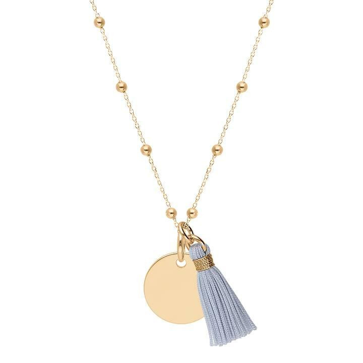 Gold-plated beaded chain necklace with medal & pompom