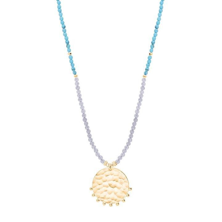 Gold-plated Comet medal, Turquoise & Labradorite gemstone beads long necklace