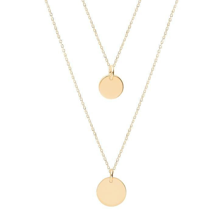 Gold-plated Two-row necklace with medals