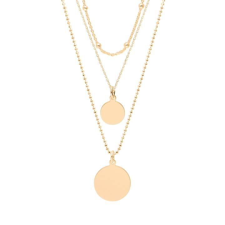Gold-plated Triple row necklace with medals
