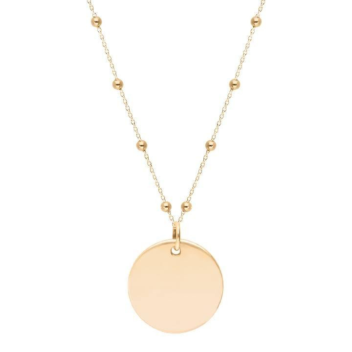 Gold-plated beaded chain necklace with large flat medal