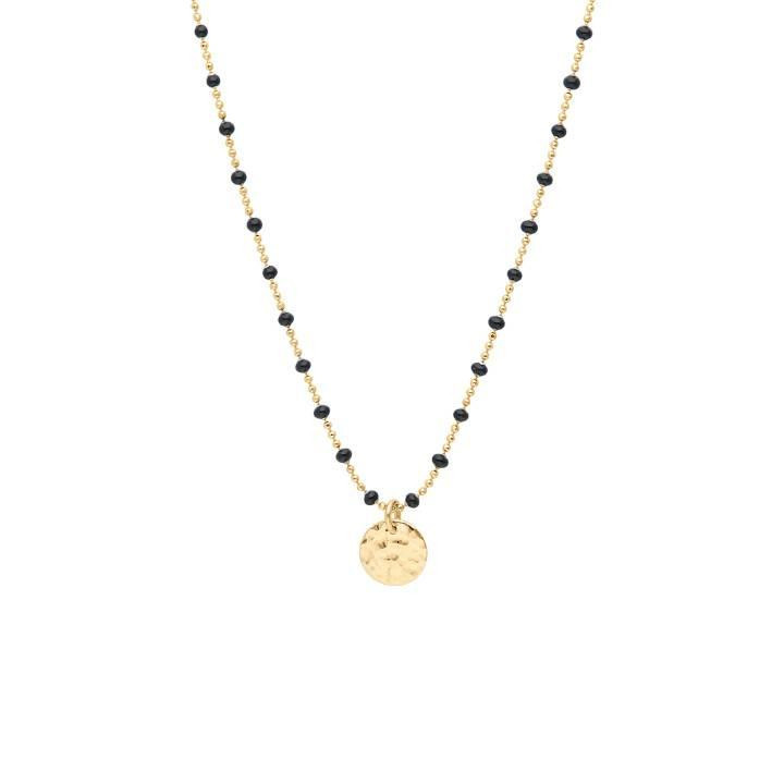 Gold-plated mini black beads chain necklace with hammered medal