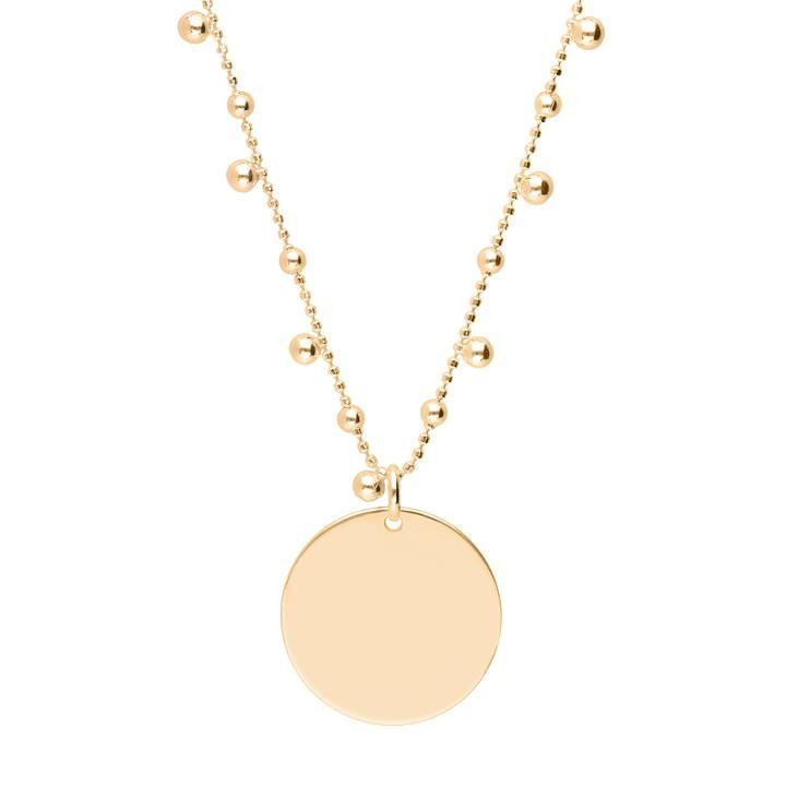 Gold-plated Long beaded and faceted chain necklace with large medal
