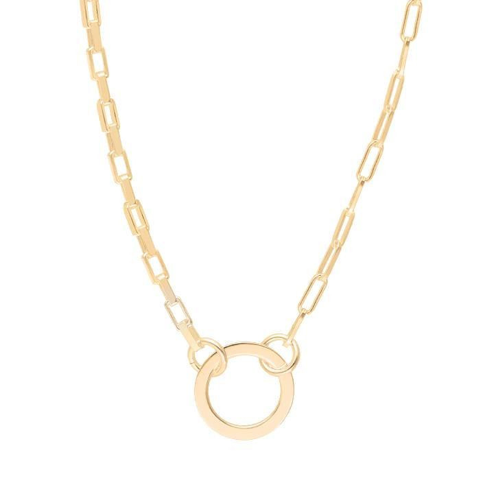 Gold-plated Large chain necklace with ring