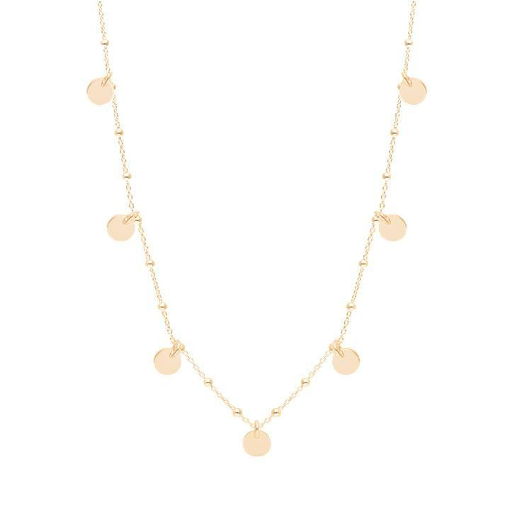 Gold-plated 7 mini medals & beaded chain necklace