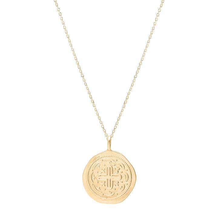 Gold-plated chain necklace with arabesque medal