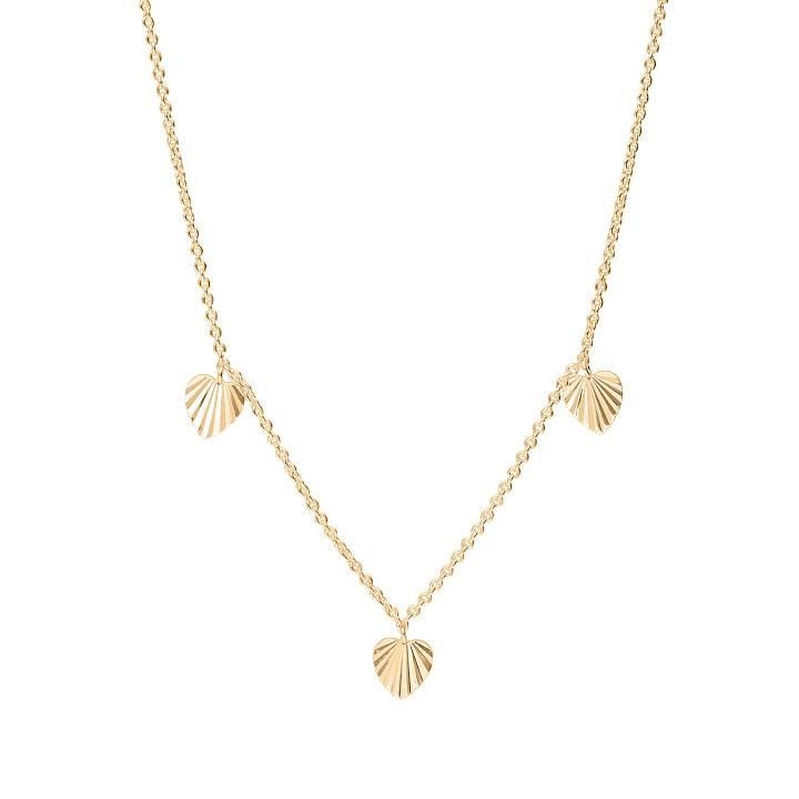 Gold-plated chain necklace with three striated hearts
