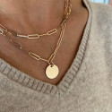 Gold-plated chain necklace with large links & medal