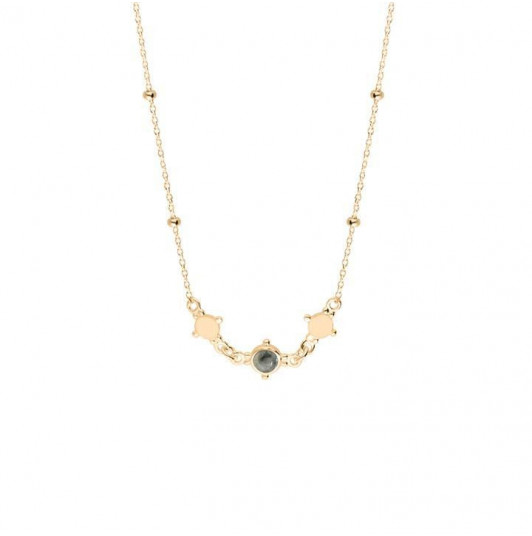 Beaded chain necklace with mini medals & labradorite