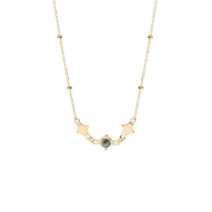 Gold-plated beaded chain necklace with mini medals & labradorite