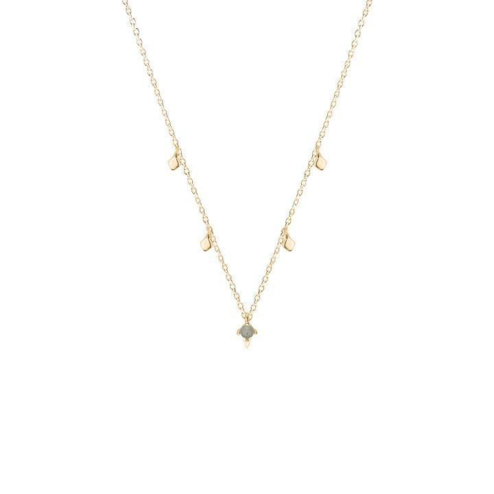 Gold-plated chain necklace with mini losenges & labradorite