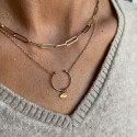 Gold-plated large thick links and opened necklace set