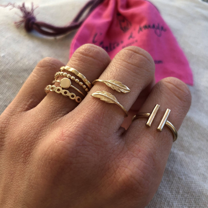 Double stick ring in gold-plated