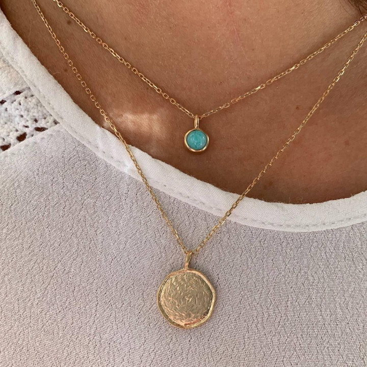 Gold-plated amazonite Naïa chain necklace