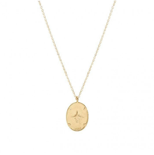 Oval star pendant chain necklace