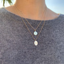 Gold-plated oval star pendant chain necklace
