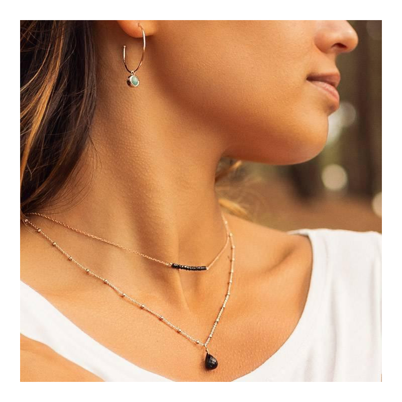 Rose gold-plated chain necklace with gemstone row