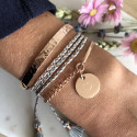 Rose gold-plated hammered pink trio
