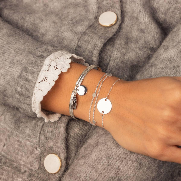 925 Silver chain bracelet with medal