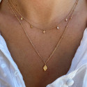 Gold-plated two-row chain necklace with lozenge charms