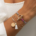 Half bangle and chain bracelet with medal and pompom
