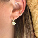 Gold-plated small beads open ring earring
