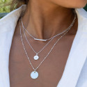 925 Silver beaded chain necklace with medal