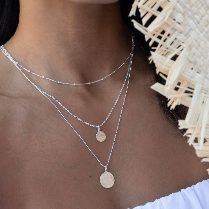 925 Silver Triple row necklace with medals