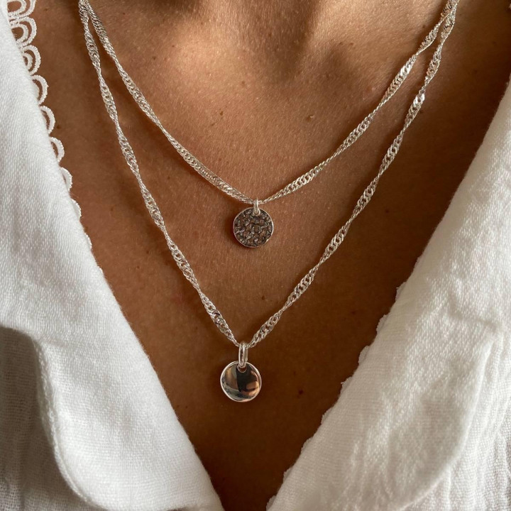 925 silver twisted chain necklace & small hammered medal