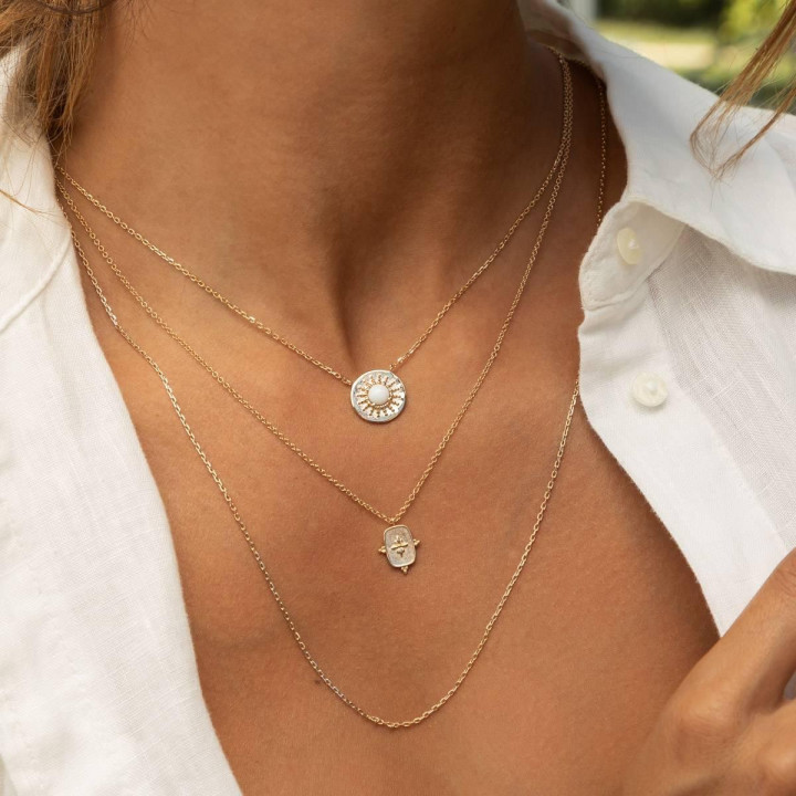 Gold-plated white turquoise medal chain necklace