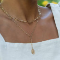 Gold-plated chain necklace with large links & beetle medal