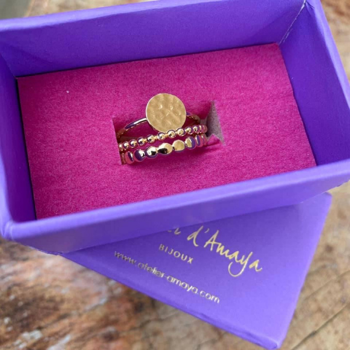 Gold-plated thin & hammered ring set