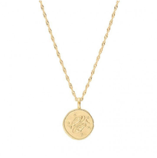 Thick twisted chain necklace with astrological sign
