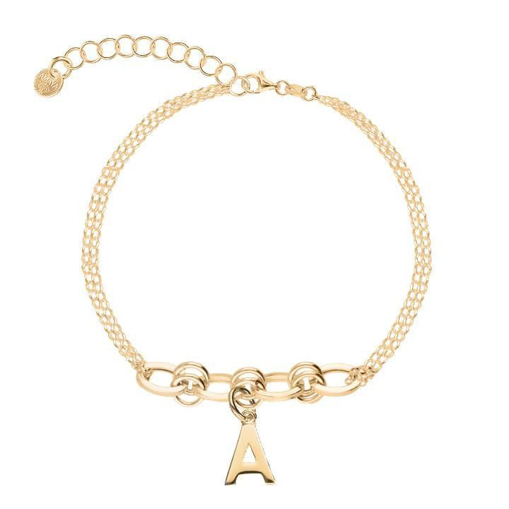 Gold-plated two-row bracelet with large interlaced links with a letter charm