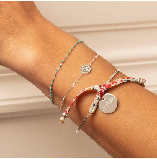 Liberty 925 silver bangle bracelet with medal