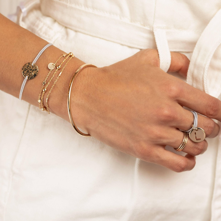 Gold-plated textured thin ring