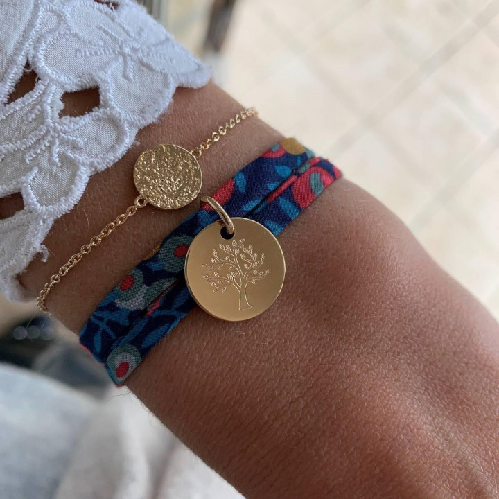 Gold-plated Tree of life & textured bracelet set
