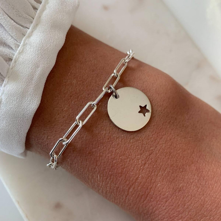 925 Silver chain bracelet with large links & hollowed star medal