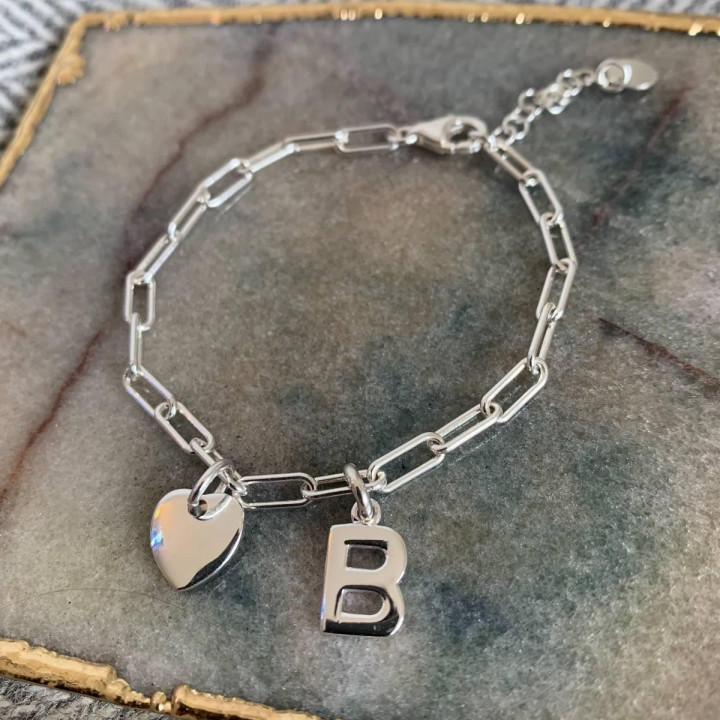 925 Silver bracelet with large links with initial & curved heart