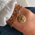 Gold-plated chain bracelet with large links & hammered medal