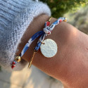 Liberty gold-plated bangle bracelet with hammered medal