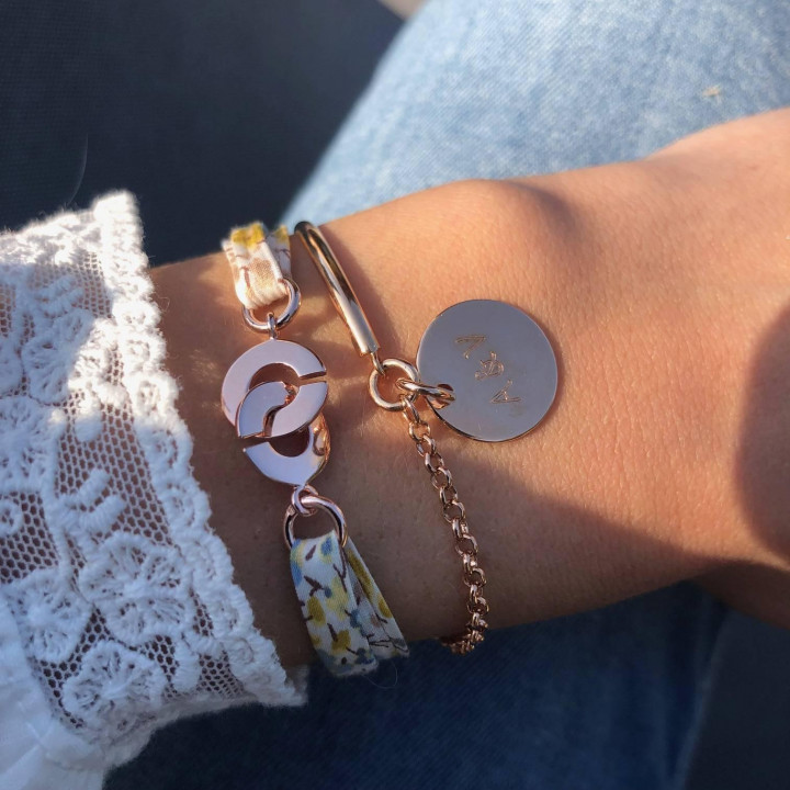 Liberty bracelet with little rose gold-plated handcuffs